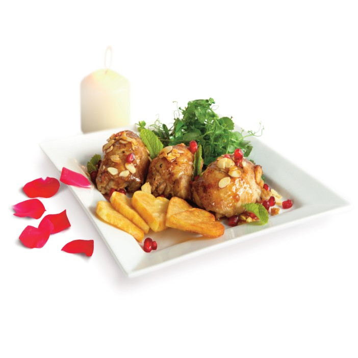 Rosewater Chicken with Pomegranate and Almonds