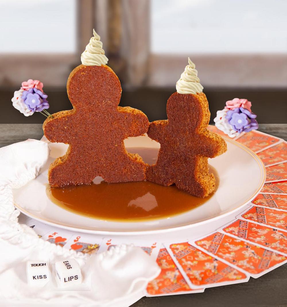 Ginger cake, spiced rum & caramel sauce