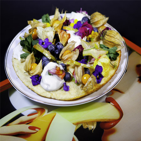 Vanilla Pancakes with Edible Flowers